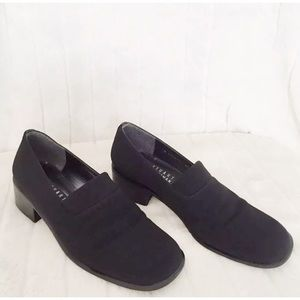 STUART WEITZMAN Sz 6.5C Blk Fabric Leather Loafer